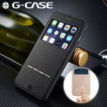 G-CASE for iPhone 6 s/6 4.7-inch Phone Cases View Window PU Leather Stand Shell Cover for iPhone 6s 6 Mobile Phone Bag