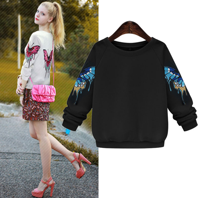 New 2015 women sweatshirts brand stars casual long sleeve o-neck embroidery Butterfly plus size casual ladies Hoodies Tops