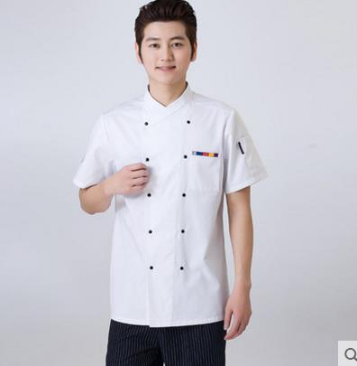 2016 hot Short-sleeved Chef service Hotel working wear Restaurant work clothes Tooling uniform cook Tops Kitchen Cook Chef(China (Mainland))