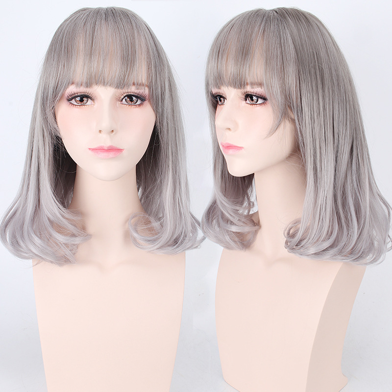 New Arrival Heat Resistant Synthetic Anime Cosplay Gray Korean Hair Wigs Harajuku Lolita Wavy Curly Long Grey Wig For Halloween(China (Mainland))