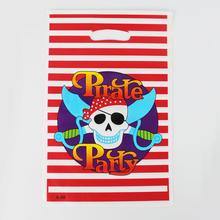 Pirata Criança Da Menina do Menino Do Bebê da Festa de Aniversário Feliz Decoração Kits Suprimentos Loot Favores de Plástico Saco do Presente Saco 12 pçs/lote(China (Mainland))