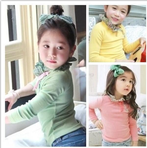 High Quality Lacy Collar Turtleneck Girl Princess T Shirts Sweet Kids Girl Spring Long Sleeve Base Shirt Free&amp;Drop Shipping<br><br>Aliexpress