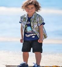 cheap baby clothes summer style new clothes boy shortsleeve fantasias infantis plaid set kid denim set jeans 3 pcs