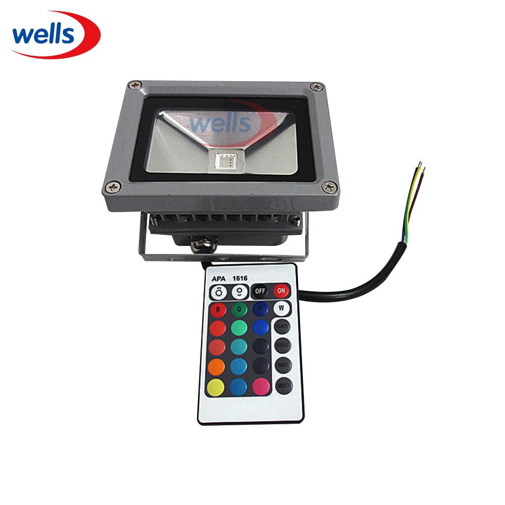 10W RGB Waterproof LED Outdoor Flood Light Multicolor + 24key IR Remote 85-265V(China (Mainland))