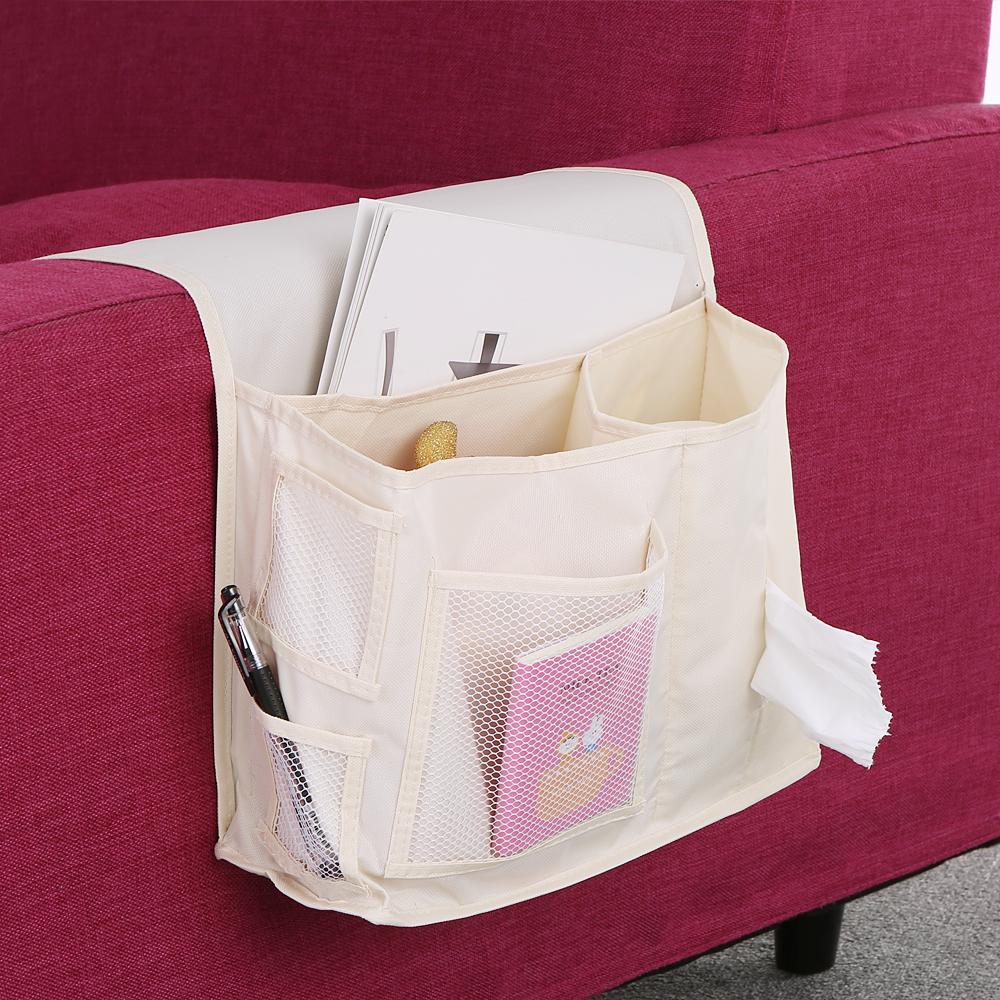 Bedside caddy mattress pocket bed organizer Hanging Holder 2016 hotsale black beige book household supplies packing storage bag(China (Mainland))