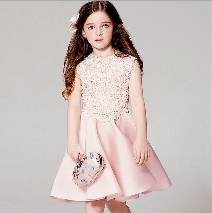 Top Market Pink Summer Girls Dress European Styles Gown For TEENAGERS 3-16y Dresses Lace Princess Dresses for Teenagers 8pcs/lot(China (Mainland))