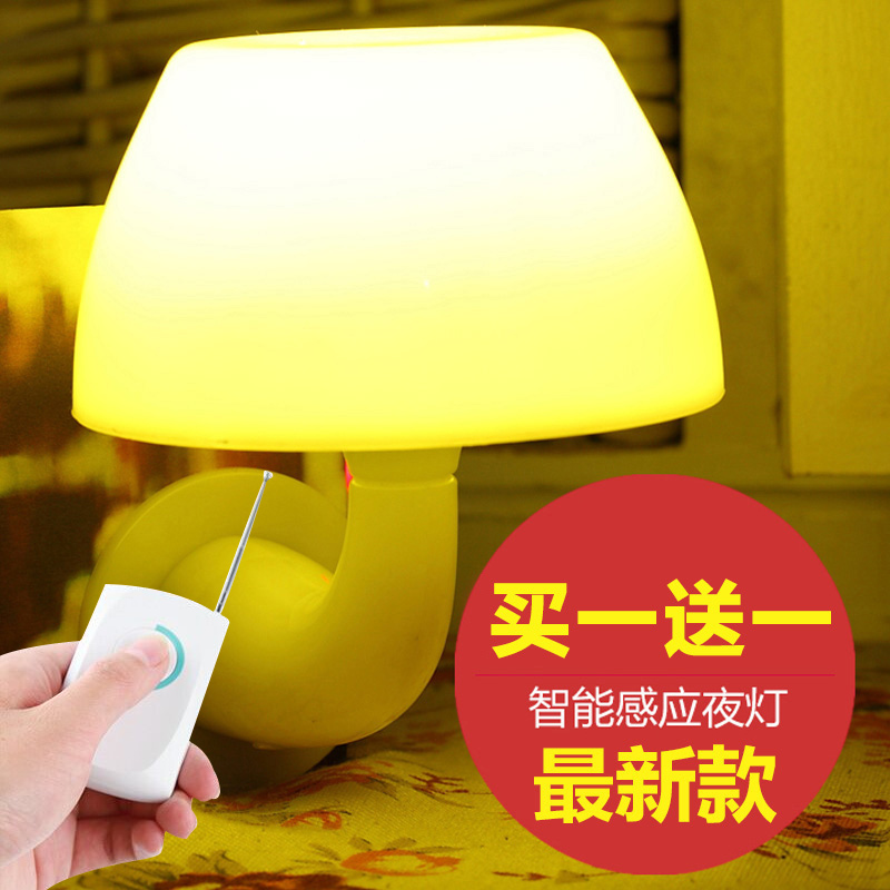 LED Nightlight bedroom baby remote control plug up control bedside sound control luminous socket(China (Mainland))