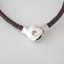 Snap Button Jewelry Newest Magnetic PU Leather Serpentine Pendant Necklace OEM ODM KB3395