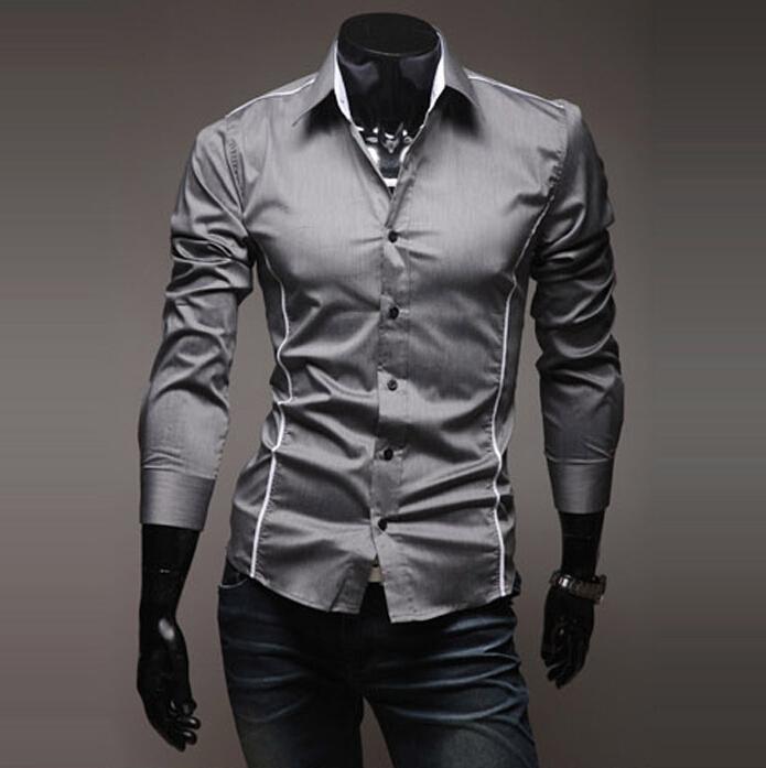 2015 Hot sell summer style Casual Men Shirt long sleeve camisas masculina Slim Fit Blouse Long