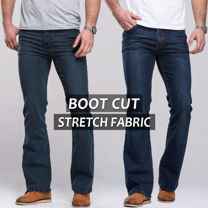 Mens jeans boot cut leg slightly flared slim fit famous brand blue black male jeans designer classic denim Jeans(China (Mainland))