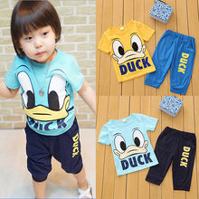 2015 Summer Baby Kids Boys Girls Short  Duck Outfits Set 2pcs Clothes 1-6Y(China (Mainland))