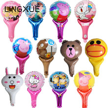 Buy 10pcs/lot pig elsa linefriend hello kitty minions Cheering foil balloon sticks wedding birthday party decorations kids toys for $2.50 in AliExpress store