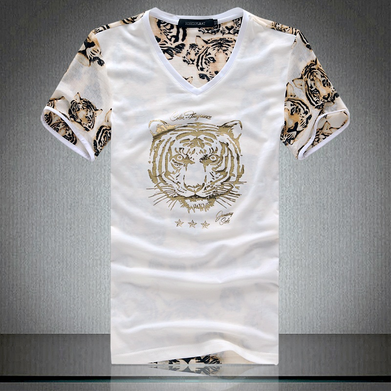 2016 Fashion Tiger Printed Short Sleeve V Neck T Shirt Men Mesh Hollow Out Patchwork Summer T-shirt Camisetas Hombre(China (Mainland))