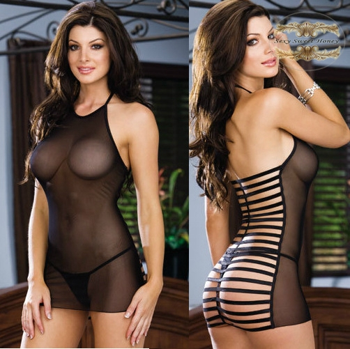 product Hot selling lady sexy lingerie  Black Lace Dress+G String back nets Sleepwear Free shipping www sex com