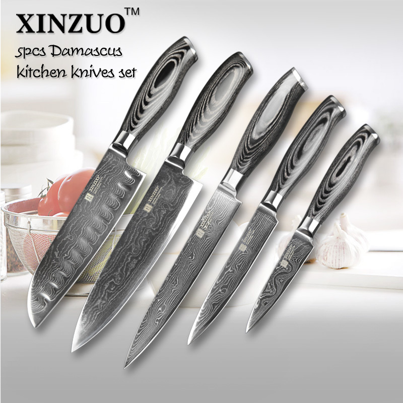 5 pcs kitchen knives set 73 layers japanese vg10 damascus