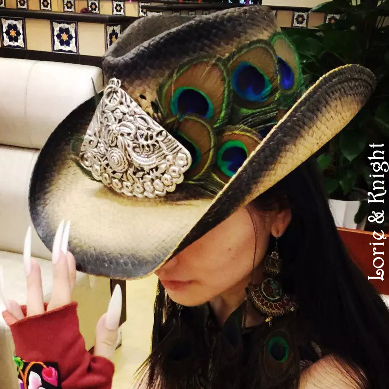 Handmade Peacock Feather & Chinese Ethnic Minority MIAO's Silver Cowboy Straw Hat Female Vacation Hat(China (Mainland))