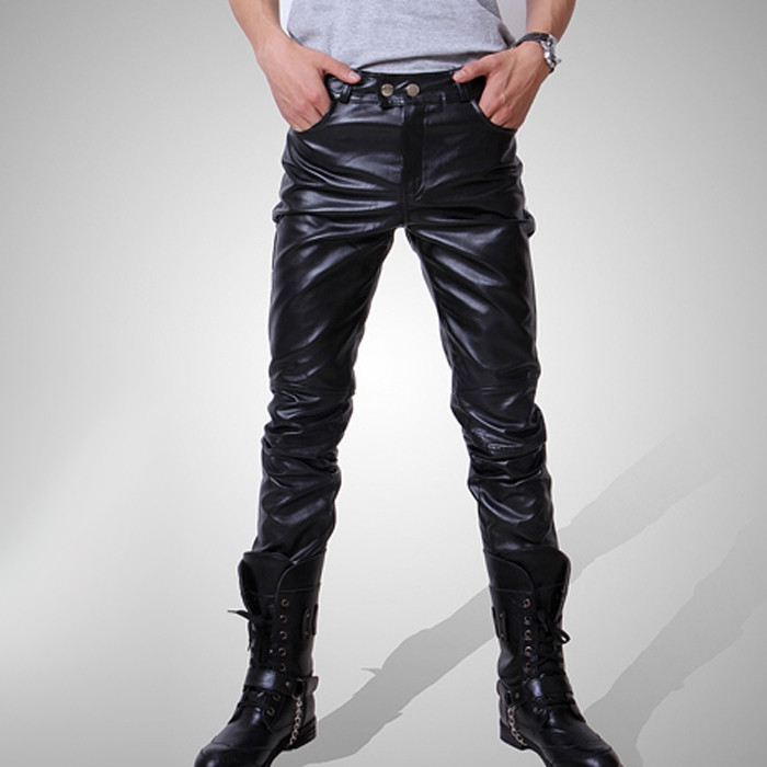 Casual Men Fashion Skinny Motorcycle Faux Leather Trousers Black Long Pants For Men Asia/Tag Size M-3XL (No Belt)