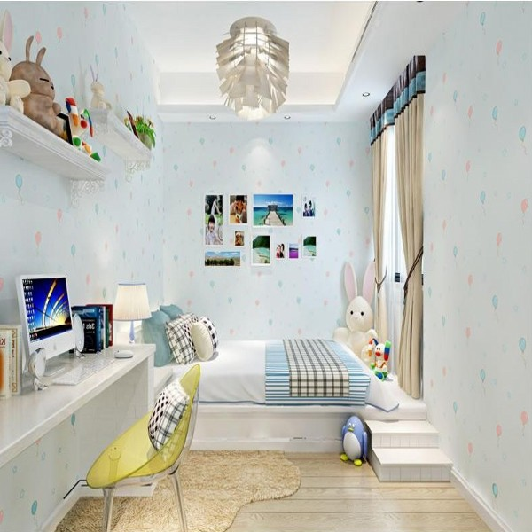 Children's Cartoon Wallpaper Rolls Light Blue Yellow Pink Lovely Non-woven Wall paper Home Decoration(China (Mainland))