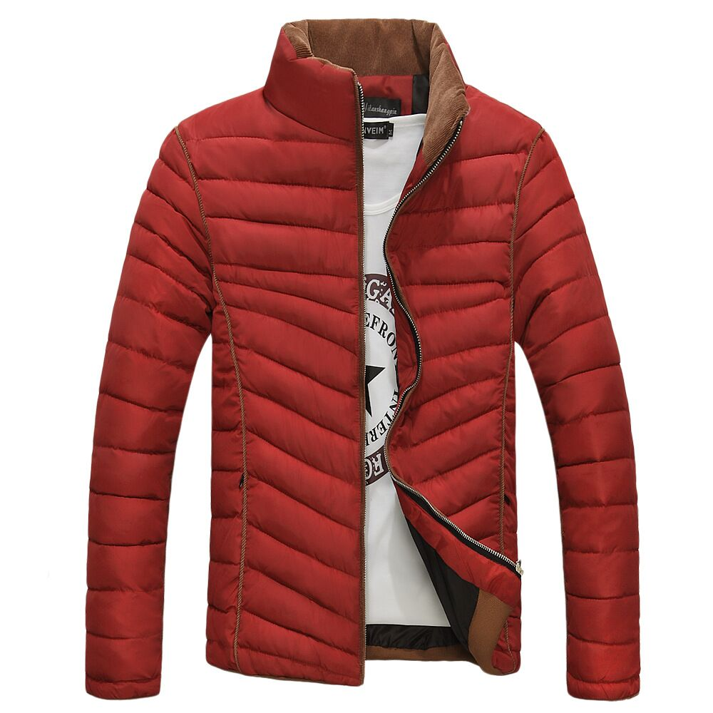 2015 new winter warm men s cotton padded clothes slim solid color men padded coat male