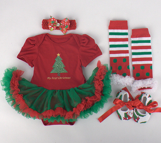 baby girls Christmas sets Toddler Romper lace tutu+ Hairband+Striped Leg warmers+Toddler Shoes set Newborn party outfit - shuang wang's store