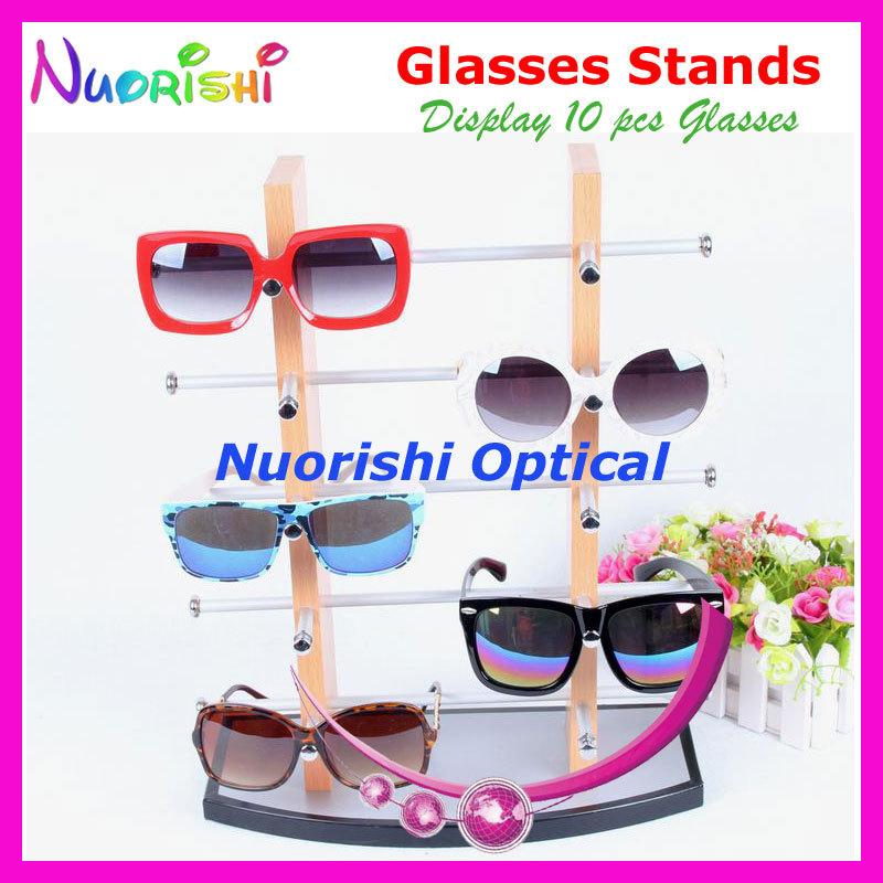 wood eyeglass sunglass eyewear glasses store display