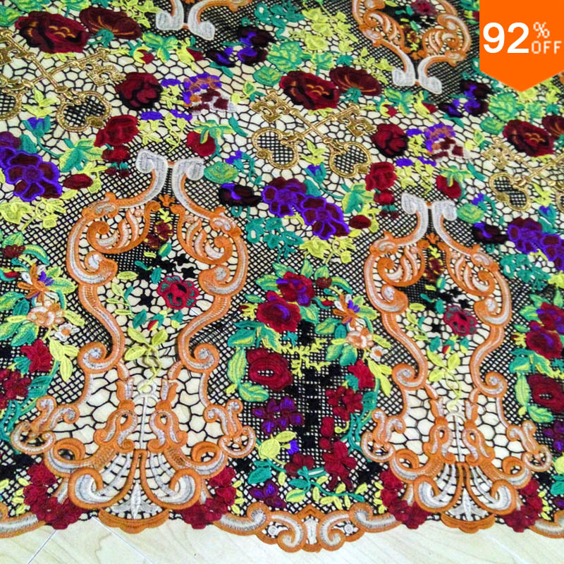Colorful embroid baroque new lace flower embroidery