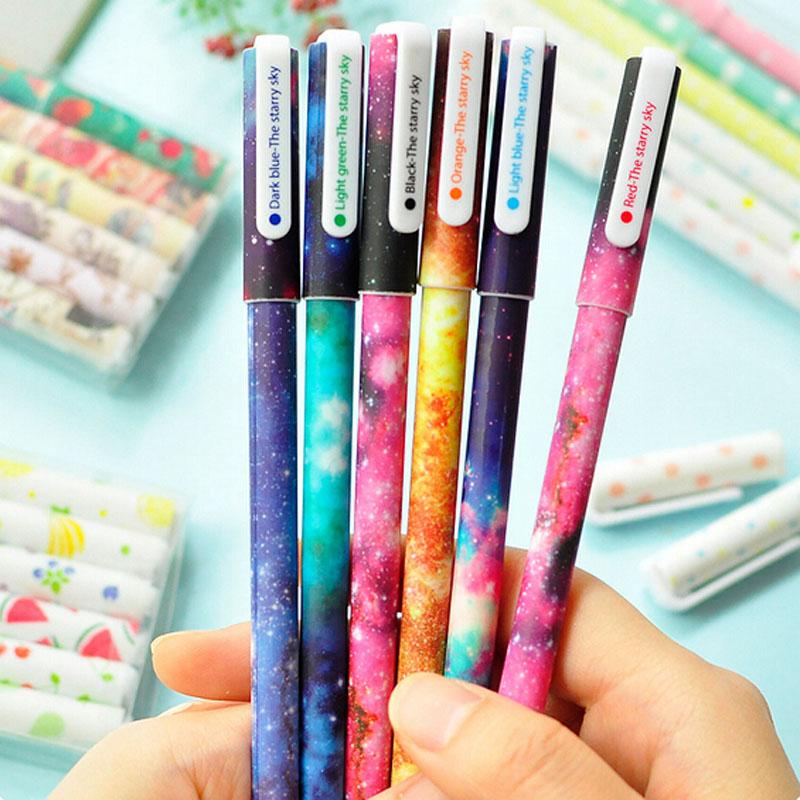 Гаджет  3pcs/set Color Gel pen Starry pattern Cute kitty hero Roller ball pens Stationery Caneta escolar Office school supplies None Офисные и Школьные принадлежности