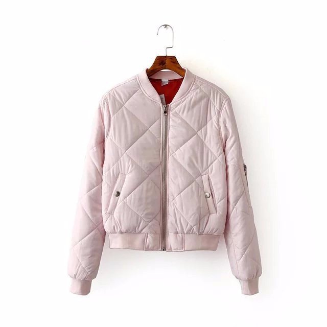 2016 Autumn Winter Parkas Fashion Women Stand Collar Solid Quilted Jacket Short Thin Padded Bomber Jacket Coat Pilots Outerwear