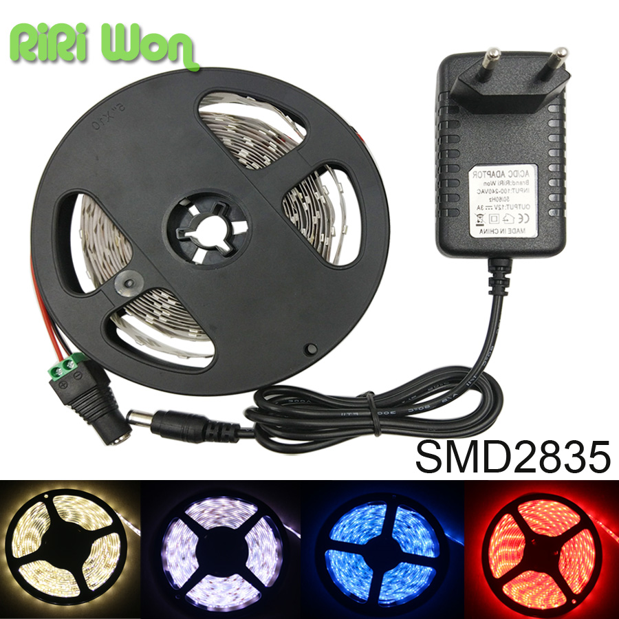 5M/Roll LED Strip Light dc12V 2835 SMD 300 LED Tape Light String Ribbon Non-Waterproof Warm White / Cool White/Blue/Red(China (Mainland))