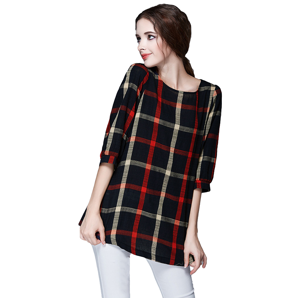 Spring women plaid blouse vintage xxxxxl o neck 3 4 sleeve Womens red plaid shirts blouses