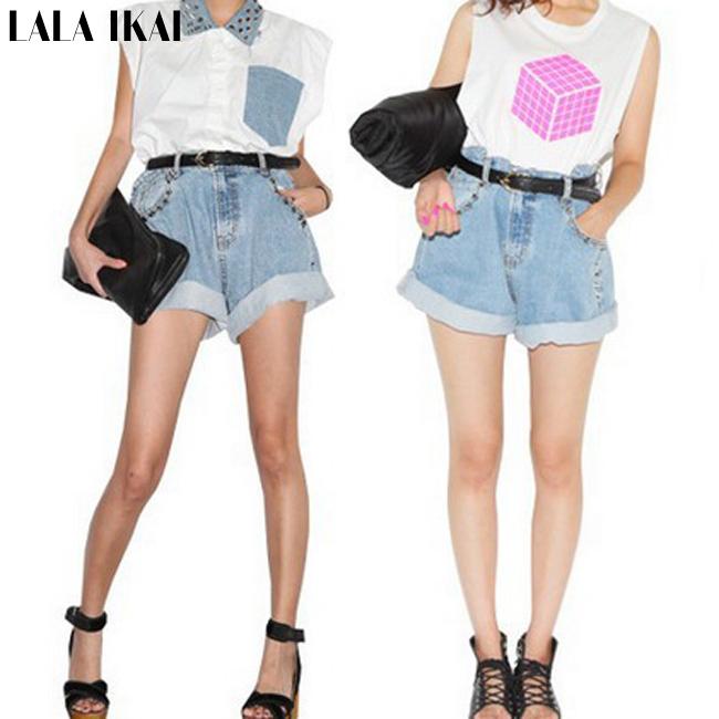 Women Hot Rivet Denim Shorts Vintage High Waist Shorts Loose Jean Shorts Studded denim Curto KWE0067(China (Mainland))