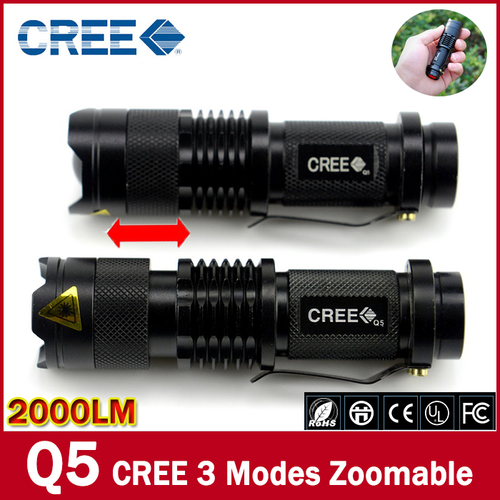 New 2015 High quality Black lantern Torch light mini LED Flashlight Strong 2000 Lumens Zoomable Penlight Lanterna(China (Mainland))