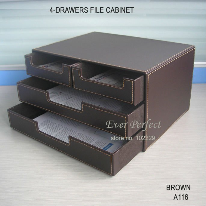 Brown Leather Office Filing Cabinet 4 Drawer Desk File
