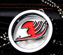 New Japanese anime Fairy Tail quartz pocket watch necklace pendant Cartoon clock women Men kids gift(China (Mainland))