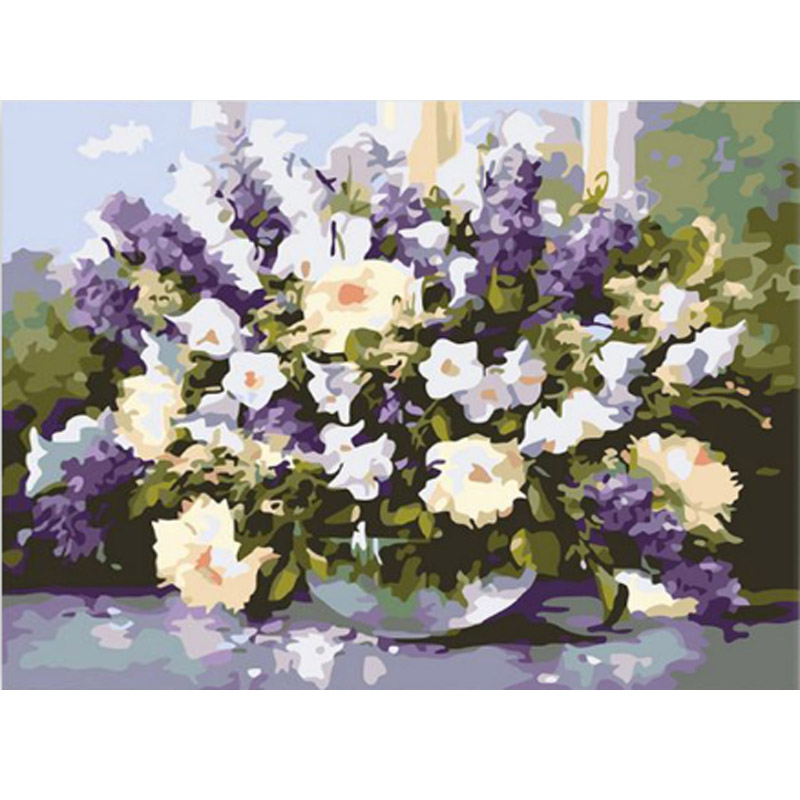 flower picture paint on canvas diy digital oil painting picture painting by numbers home decoration craft gifts(China (Mainland))