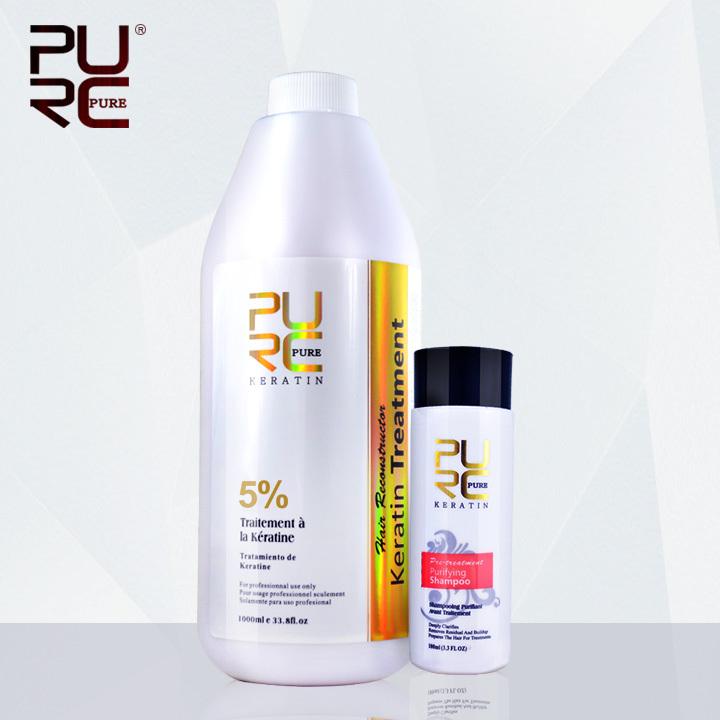 PURC keratin hot salon 1000ml Brazilian keratin hair treatment Formaldehyde 5% hair straightener and 100ml purifying shampoo(China (Mainland))