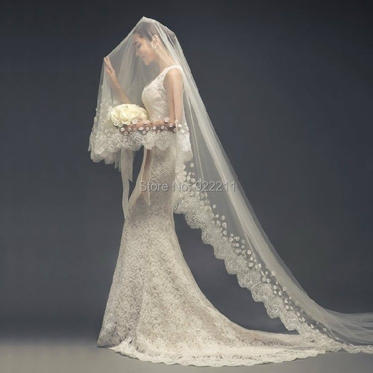 Aliexpress Buy New Arrival 2015 One Layer Cathedral Length Bridal Wedding Veil Lace Purfle
