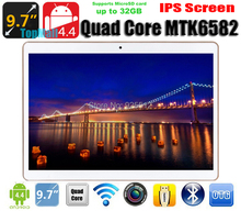 2015 Newest  9.7 inch capacitive touch screen MTK6582 Quad core Android 4.4 WIFI Bluetooth 3G tablet pc DHL Free Shipping(China (Mainland))