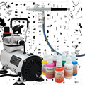 Complete Professional Airbrush Nail Kit with AB 136 Airbrush Colopaint Compressor Colors and Nail Stencil