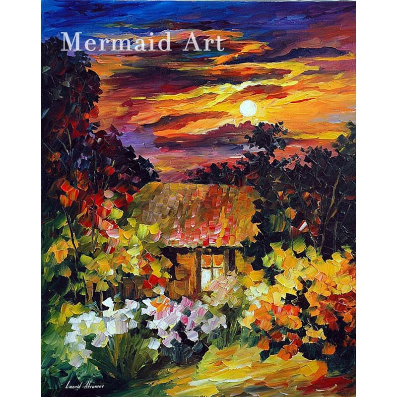 Buy Hand Painted Landscape Under The Moon Light High Quality Abstract Palette Knife Oil Painting Canvas Decoration Living Room Fine cheap