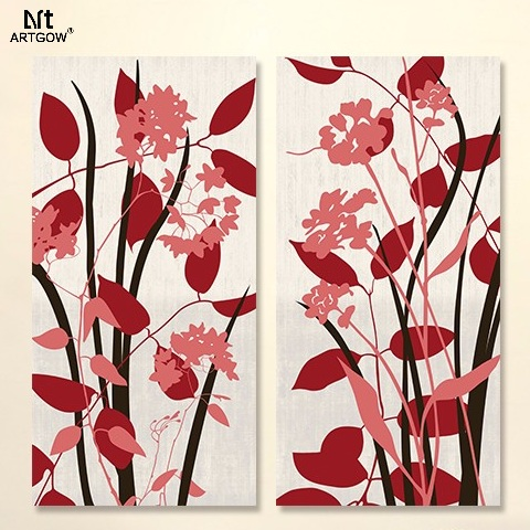 Modern Fashion Flower 2 pcs Plant children living room Decoration Fire Red Canvas Painting on wall Hanging home decor unframed(China (Mainland))