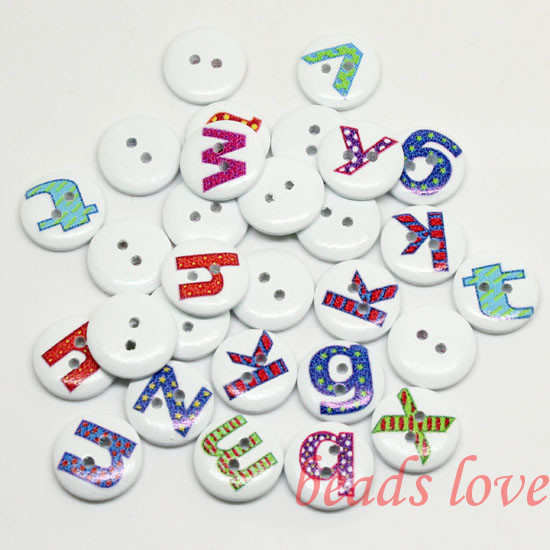 """5Mixed 2 Holes """"letter"""" Cartoon Wood Sewing Buttons Scrapbooking 15mm Knopf Bouton(w02792) - monstar store"""