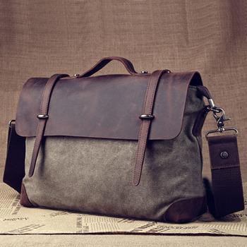 2015 For Men Genuine Leather Messenger Bag Sac Vintage Bolsos Canvas Shoulder Crossbody Handbag Bolsa Couro Messenger-Bag S210