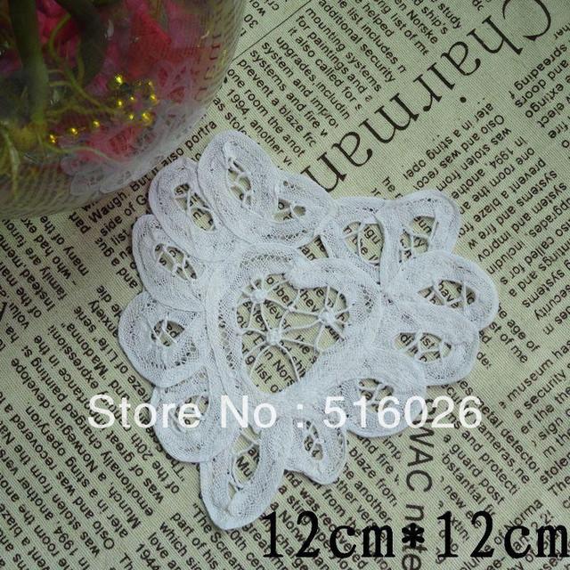 Free shipping wholesale 100% cotton hand made Shaped Heart battenburg lace Doily ,cup mat 20PCS/LOT 11cm crochet applique