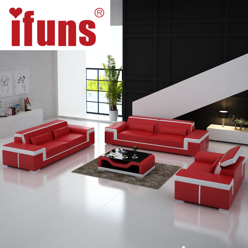 Ifuns modern leather sectional sofa set living room furniture genuine leather luxury sofa sets 1 - Modern living room furniture set ...