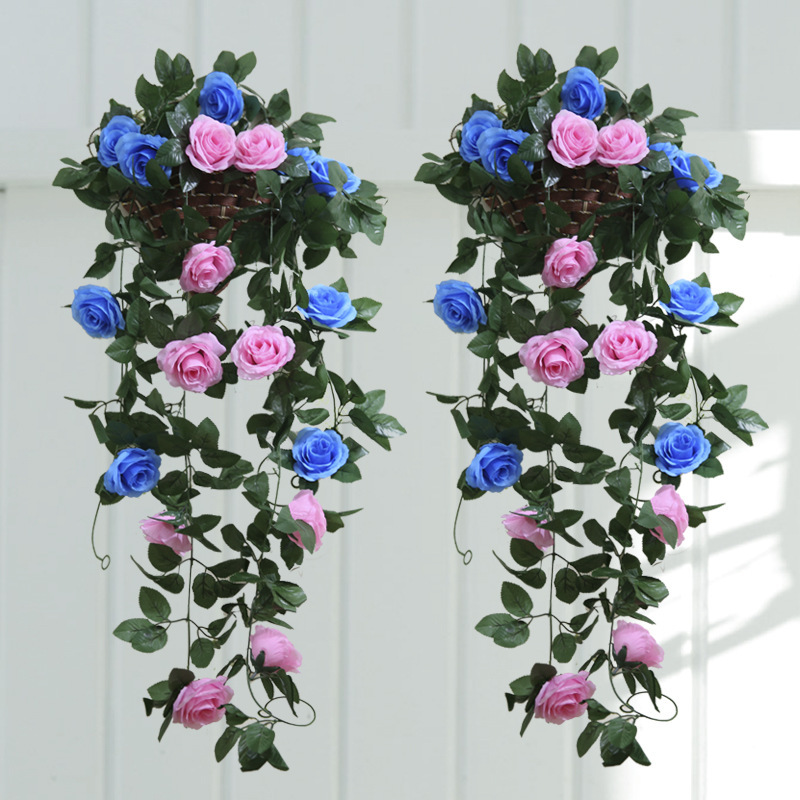 2.1m Fashion Artificial Silk Rose Flowers Vine Ivy Leaf Garland Plants Rattan for Wedding Decoration Home Wall Garden Decoration(China (Mainland))