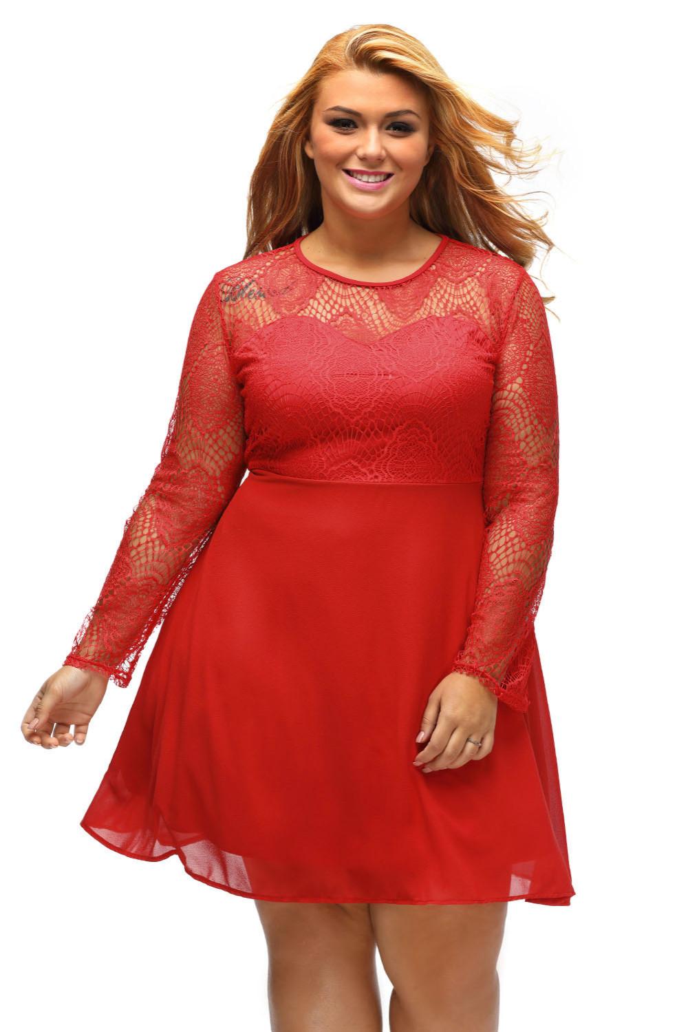 2016ใหม่ในฤดูใบไม้ร่วงของผู้หญิงแฟชั่นสีดำสีแดงสีขาวโฮขนาดบวกลูกไม้สูงสุดSkater LGY22870 ถูก