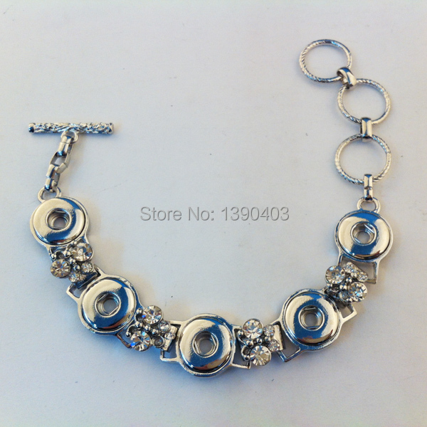 6pcs/lot High quality plating color metal snap button armband rhinestone 12mm snap button bracelet jewelry lot(China (Mainland))