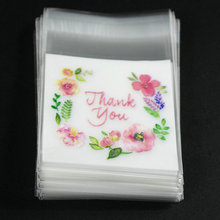 "100pcs "" thank you "" with flower pattern Self Adhesive Seal packing bags ,packing bag,food packing bags 7*7+3cm(China (Mainland))"