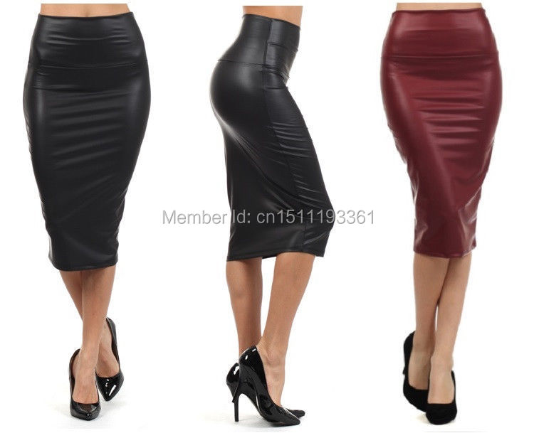 free shipping plus size high-waist faux leather pencil skirt black leather skirt S/M/L/XL(China (Mainland))